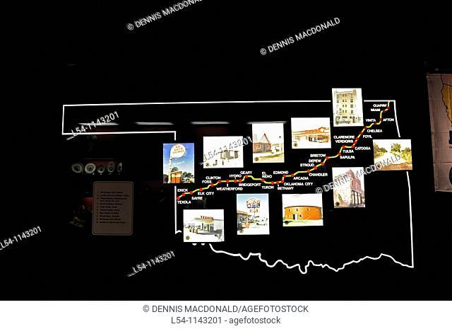 Oklahoma Map shows stops Route 66 Museum Clinton Oklahoma