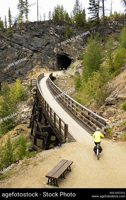 A tunnel in the Myra Canyon, on the Kettle Valley Rail Trail, Okanagan, British Columbia, Canada