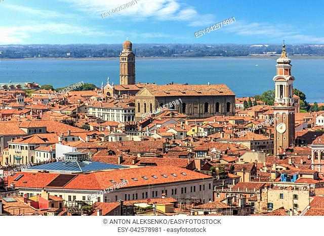 The San Apostoli bell tower and the Madonna dell'Orto tower in Venice, Italy