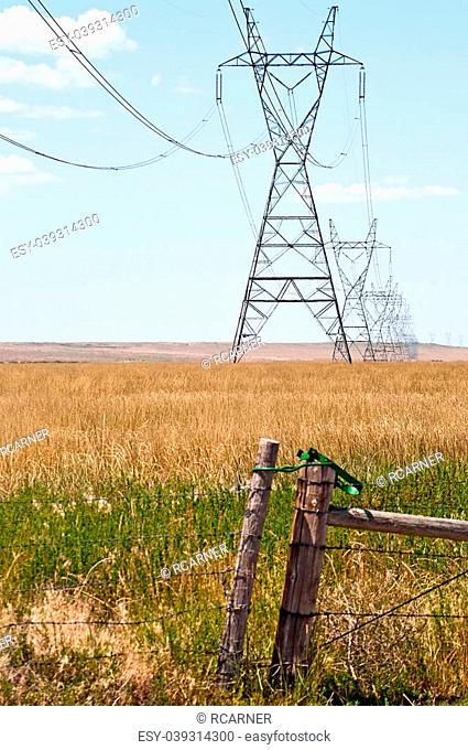 Power lines carrying electric power across the prairie