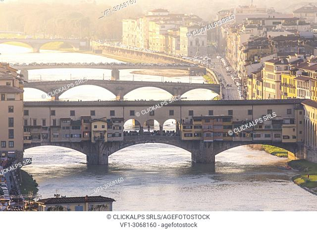 Ponte Vecchio bridge and Arno river, Florence, Tuscany, Italy