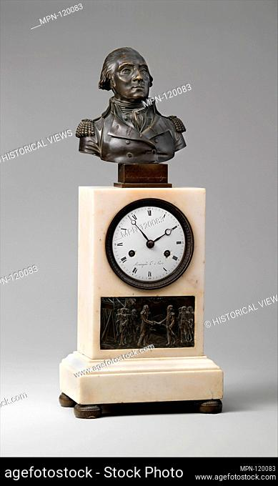 Clock with Bust of Washington and Relief of Cornwallis Resigning his Sword to Washington. Maker: Armingaud L'Ainé (1806-1813); Date: ca