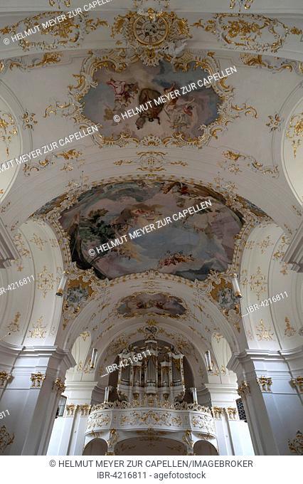 Ceiling fresco and organ loft of the late Baroque monastery church, Schäftlarn, Upper Bavaria, Germany