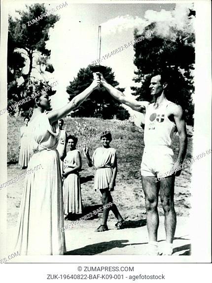 Aug. 22, 1964 - 22-8-64 The Olympic Torch begins its journey ?¢'Ǩ'Äú The ceremony of the lighting of the Olympic Torch for the Tokyo Games took place at...