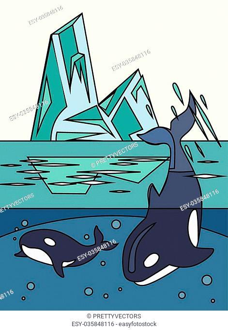Arctic nature. Vector line illustration