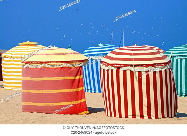 Typical color striped beach cabins, beach and sea, Trouville sur Mer, 14, Normandy, France