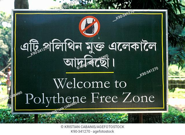 Sign 'plastics bags forbidden' in the zoo of Gauwahati (Gauhati). Assam. India