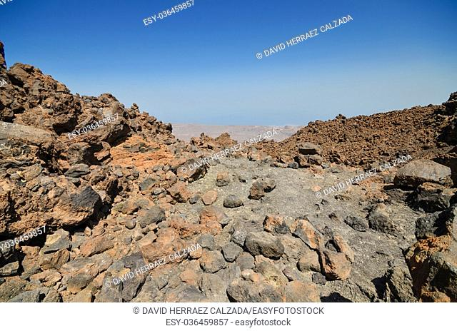 Volcanic landscape geologic detail in teide national park, Tenerife, Canary islands, Spain