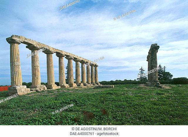 The Doric Temple of Hera or Palatine Tables (Tavole Palatine), in the Archaeological Area of Metaponto, Bernalda, Basilicata, Italy, Magna Graecia civilization