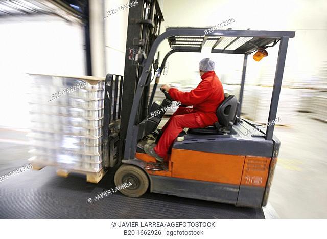 Loading truck, Forklift, Packaging canned vegetables, Canning Industry, Agri-food, Logistics Center, Grupo Riberebro, Alfaro, La Rioja, Spain