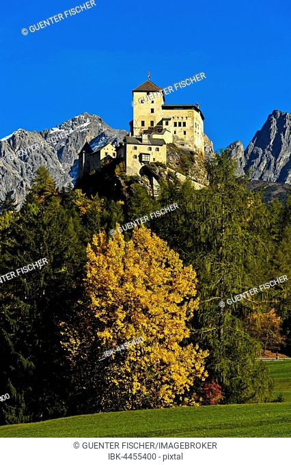 Autumn landscape with Tarasp Castle, Tarasp, Scuol, Lower Engadine, Grisons, Switzerland