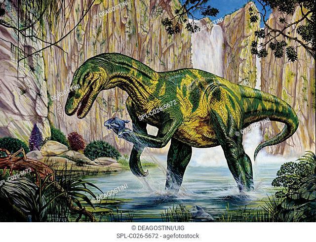 Baryonyx dinosaur fishing. Computer illustration of a Baryonyx sp. dinosaur fishing by a prehistoric waterfall. This fish-eating theropod lived around 130...