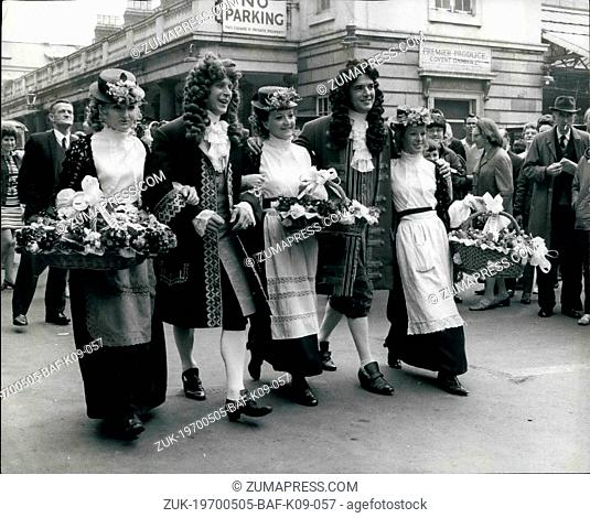 May 05, 1970 - Covent Garden Market Goes Gay For Its 300th. Birthday Celebrations: Covent Garden, London's famous fruit, vegetable and flower market