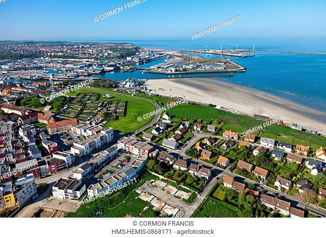 France, Pas de Calais, Boulogne sur Mer, Chemin Vert district (aerial view)