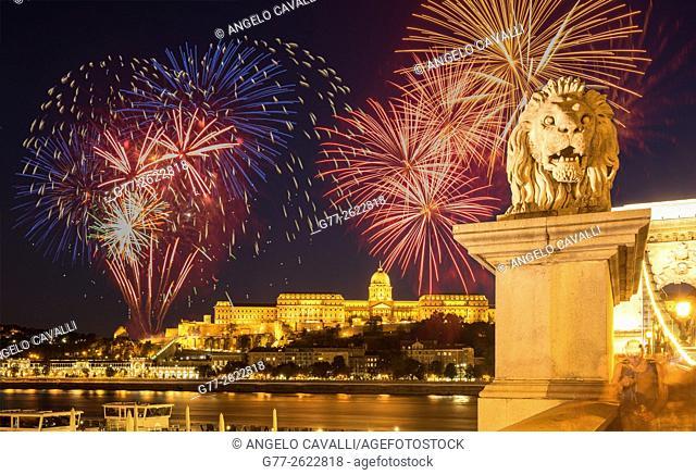 Hungary. Budapest. Lion statue on Chain Bridge