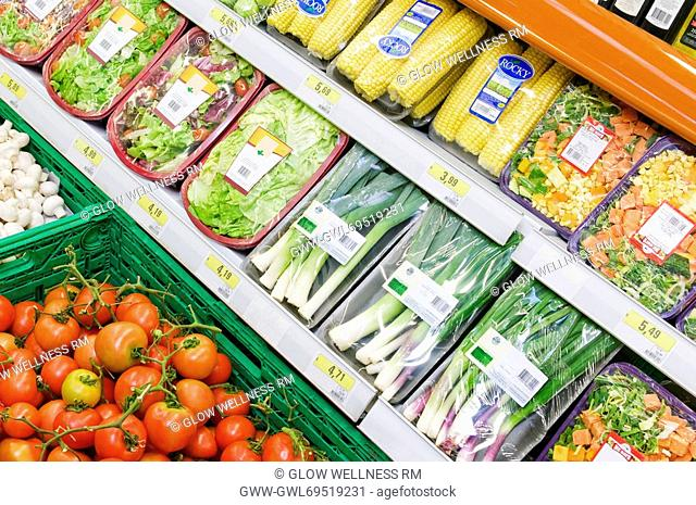 Packed food and vegetables in a supermarket