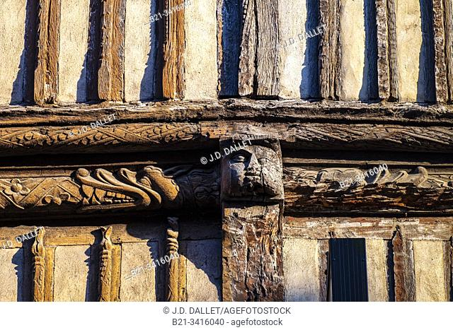 France, Normandy, Eure, 14th century house facade, at Bernay