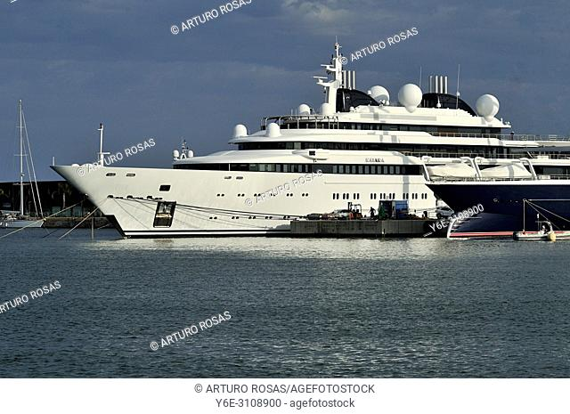 The Katara, mega yacht owned by the Emir of Qatar, moored in the seaport of Tarragona, Catalonia. Spain