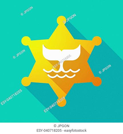 Illustration of a long shadow sheriff star with a whale tail