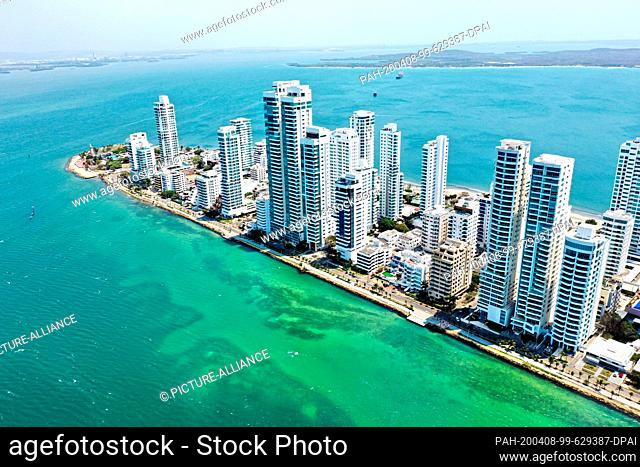 27 March 2020, Colombia, Cartagena: The drone picture shows the bay of Cartagena. The strict measures to contain the coronavirus have a positive effect on the...