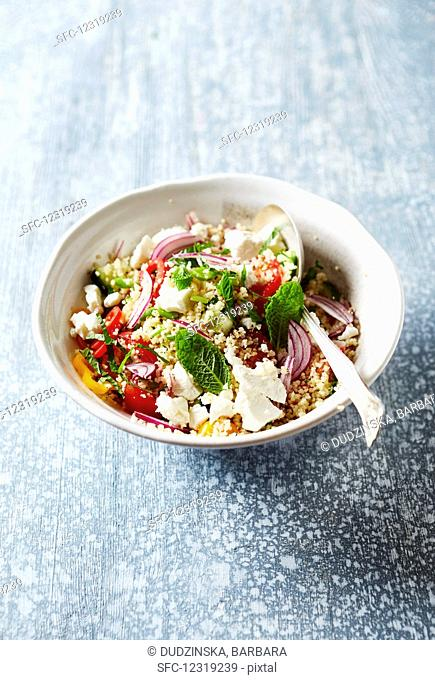 Tabouleh with couscous, vegetables, feta and mint