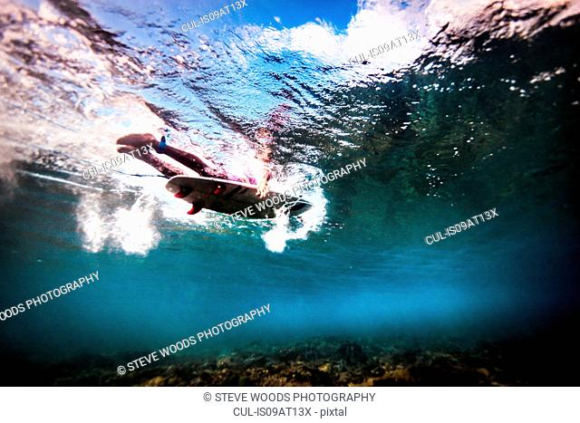 Underwater view of surfer paddling through ocean to catch waves in Bali, Indonesia