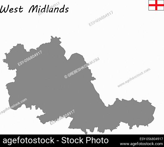 High Quality map is a ceremonial county of England. West Midlands