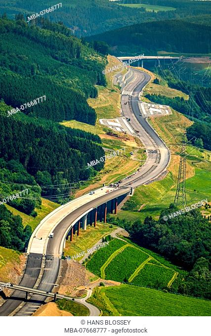 Motorway A46 between the end of the Autobahn Bestwig and valley bridge Nuttlar, parking lots, Bestwig, Sauerland, expansion A46 motorway, North Rhine-Westphalia