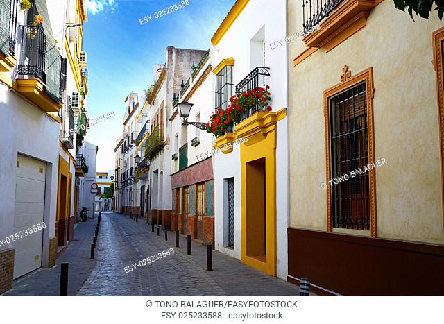 Triana barrio of Seville facades Andalusia Sevilla Spain