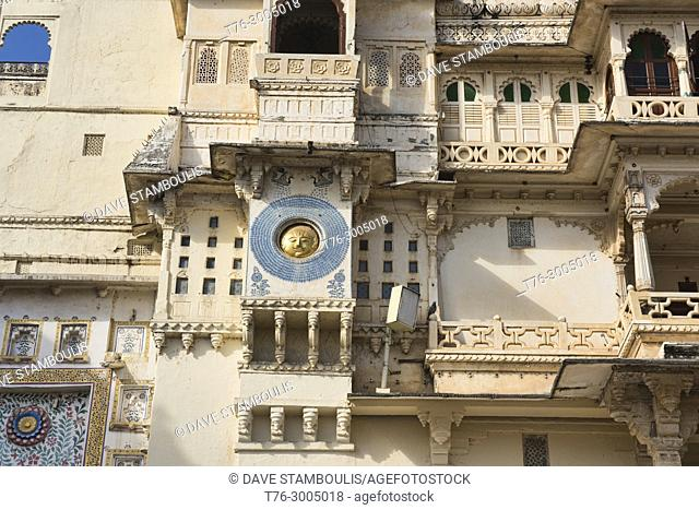 Artwork on the City Palace, Udaipur, Rajasthan, India