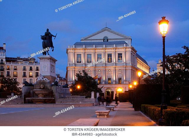 Opera house Teatro Real on the Plaza de Oriente at dusk, Madrid, Spain