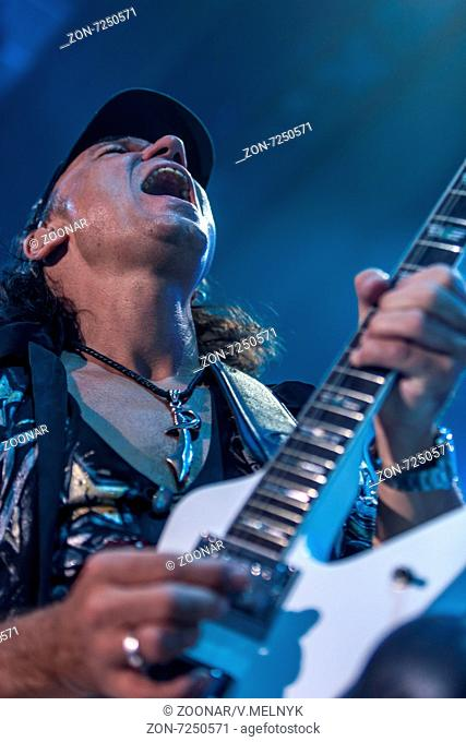 DNIPROPETROVSK, UKRAINE OCTOBER 31 Matthias Jabs from Scorpions rock band performs live at Sports Palace Meteor. Final tour concert on October 31