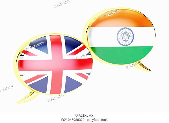 Speech bubbles, English-Indian conversation concept. 3D rendering
