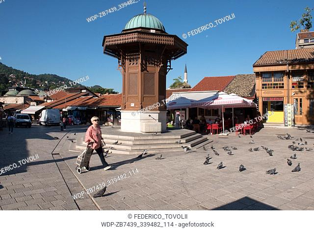 Sarajevo. The Sebilj fountain at the Bašcaršija-Square