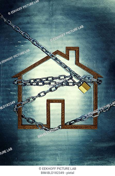 House shape locked in chains
