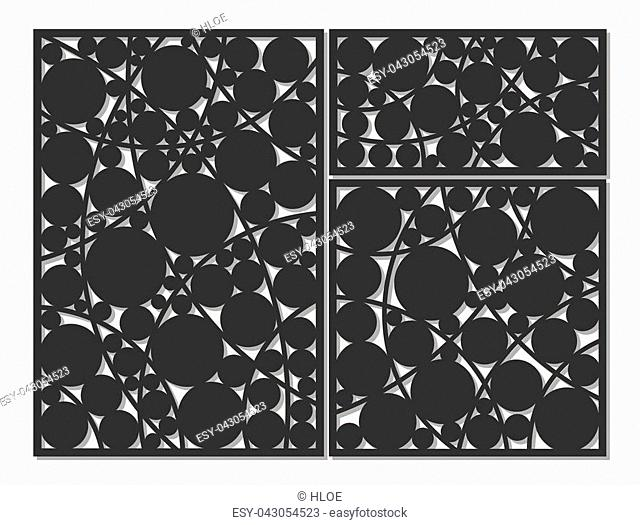 Template for cutting. Circle, geometric pattern. Laser cut. Set ratio 1:1, 1:2, 2:3. Vector illustration