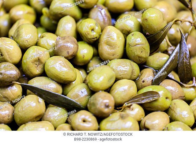 Cracked green olives for sale in Tel Aviv's Carmel Market