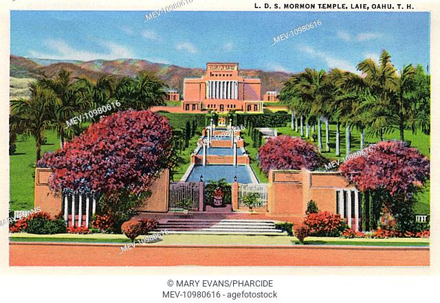 Mormon Temple (Church of Latter Day Saints) at Laie, on the Island of Oahu, Hawaii, USA