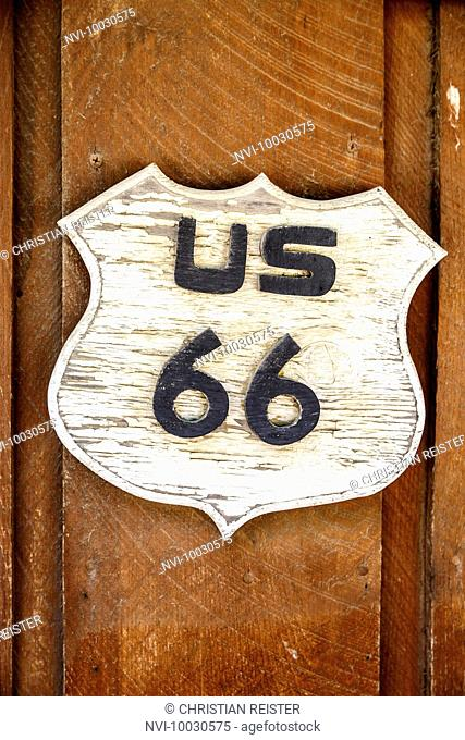 Wooden sign,Route 66, USA