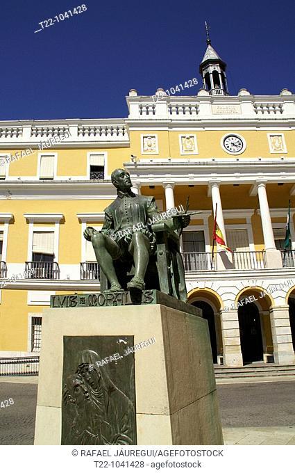 Badajoz España  Escultura del pintor Luis de Morales en la Plaza de España de la ciudad de Badajoz  Sculpture by the painter Luis de Morales in the Plaza of...