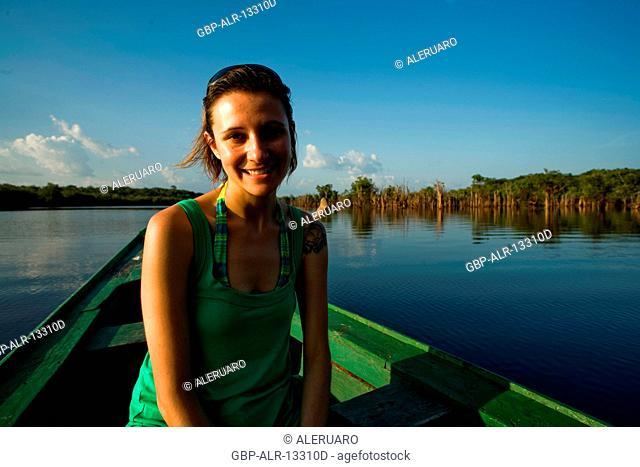Woman Smiling, Cuieiras River, Manaus, Amazônia, Amazonas, Brazil