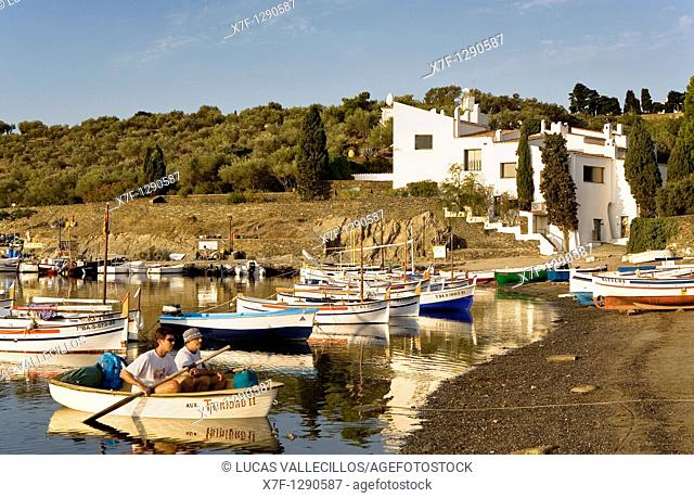 Bay of Portlligat  In background Salvador Dali's House - Museum Costa Brava  Girona province  Catalonia  Spain