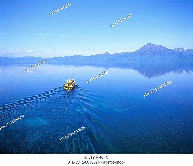 Ship trail Water surface Blue sky Clouds Sightseeing ship Lake Shikotsu Chitose Hokkaido Japan