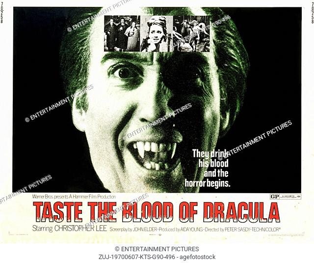 RELEASE DATE: June 1970. MOVIE TITLE: Taste the Blood of Dracula. STUDIO: Hammer Film Productions. PLOT: Three elderly distinguished gentlemen are searching for...