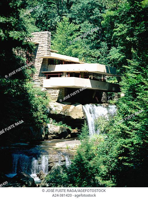 Fallingwater House (Kaufmann House) by architect Frank Lloyd Wright. Pennsylvania. USA