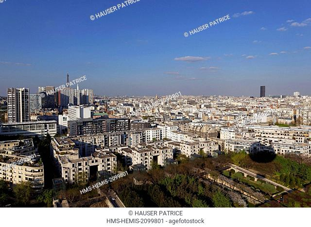 France, Paris, southern Paris view from the observation balloon of Andre Citroen park