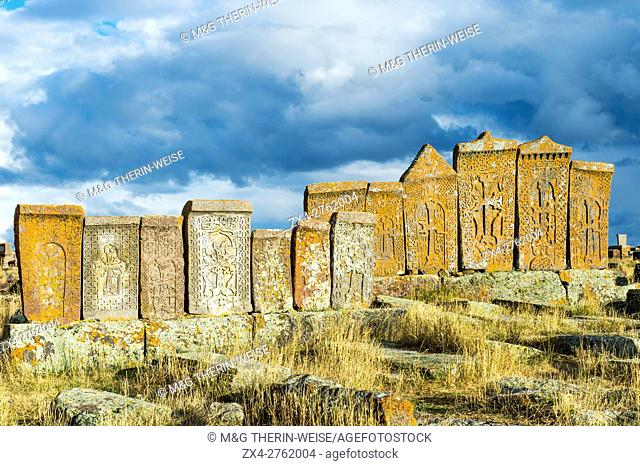 Medieval Khachkars carved memorial stele, Noratus cemetery, Sevan Lake, Gegharkunik province, Armenia, Caucasus, Middle East, Asia