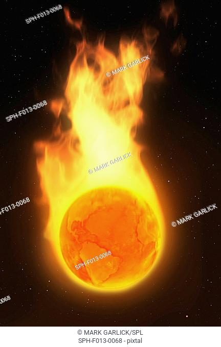 Global warming. Conceptual illustration of an Earth globe in flames, representing climate change such as global warming and general environmental degradation...