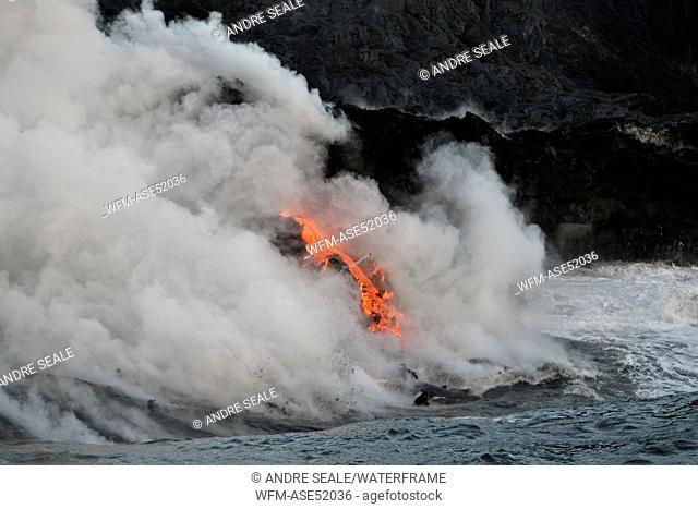 Molten Lava floats into Ocean, Volcanoes National Park, Kilauea, Big Island, Hawaii, USA