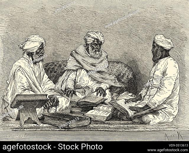 Portrait of Mule, mullah or mollah religious person versed in the Koran, hadiths and islamic jurisprudence or fiqh of Bhopal, Madhya Pradesh, India